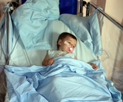 sick kid in the hospital