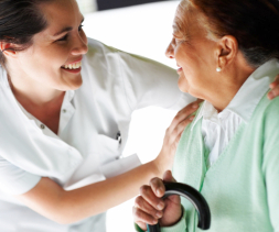 caregiver talking to a senior